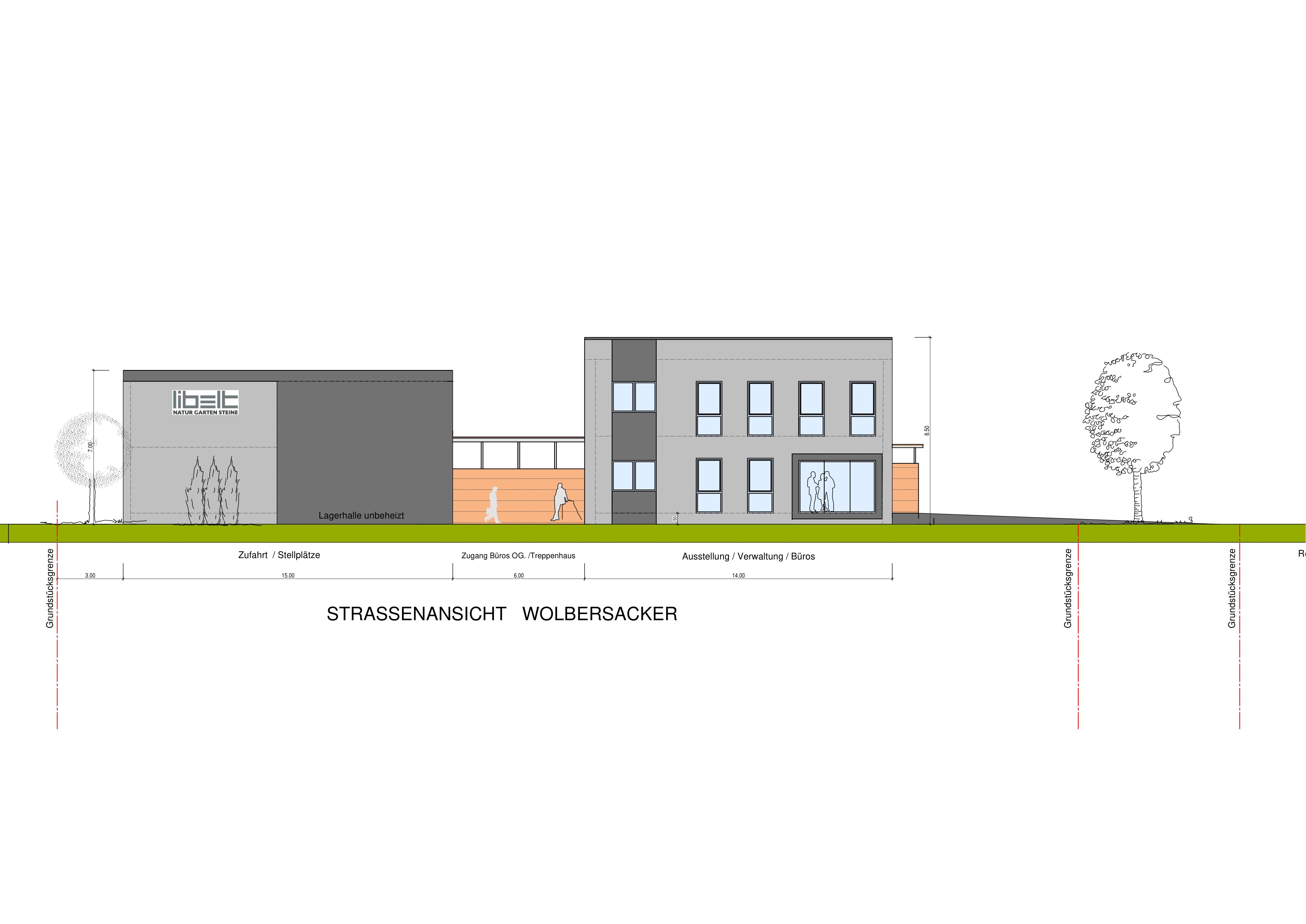 Straßenansicht Halle + Bürogebäude
